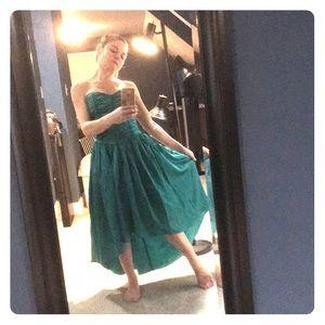 Gunne Sax emerald satin strapless hi-low dress